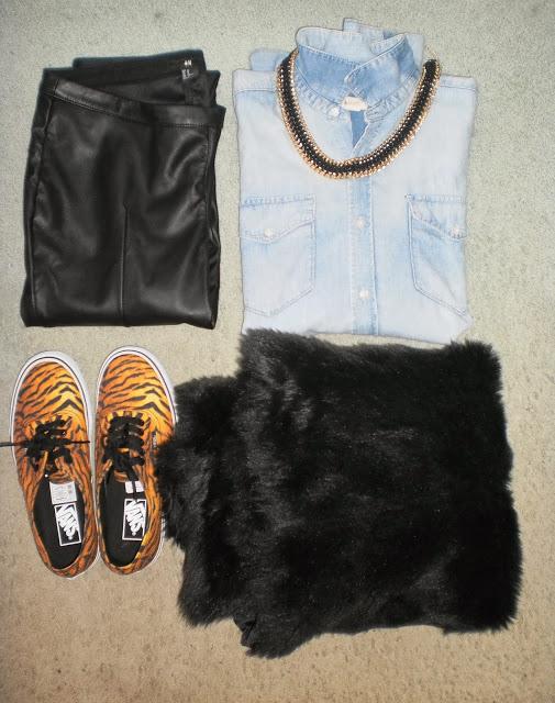 Outfit: Black Leather Denim Tiger