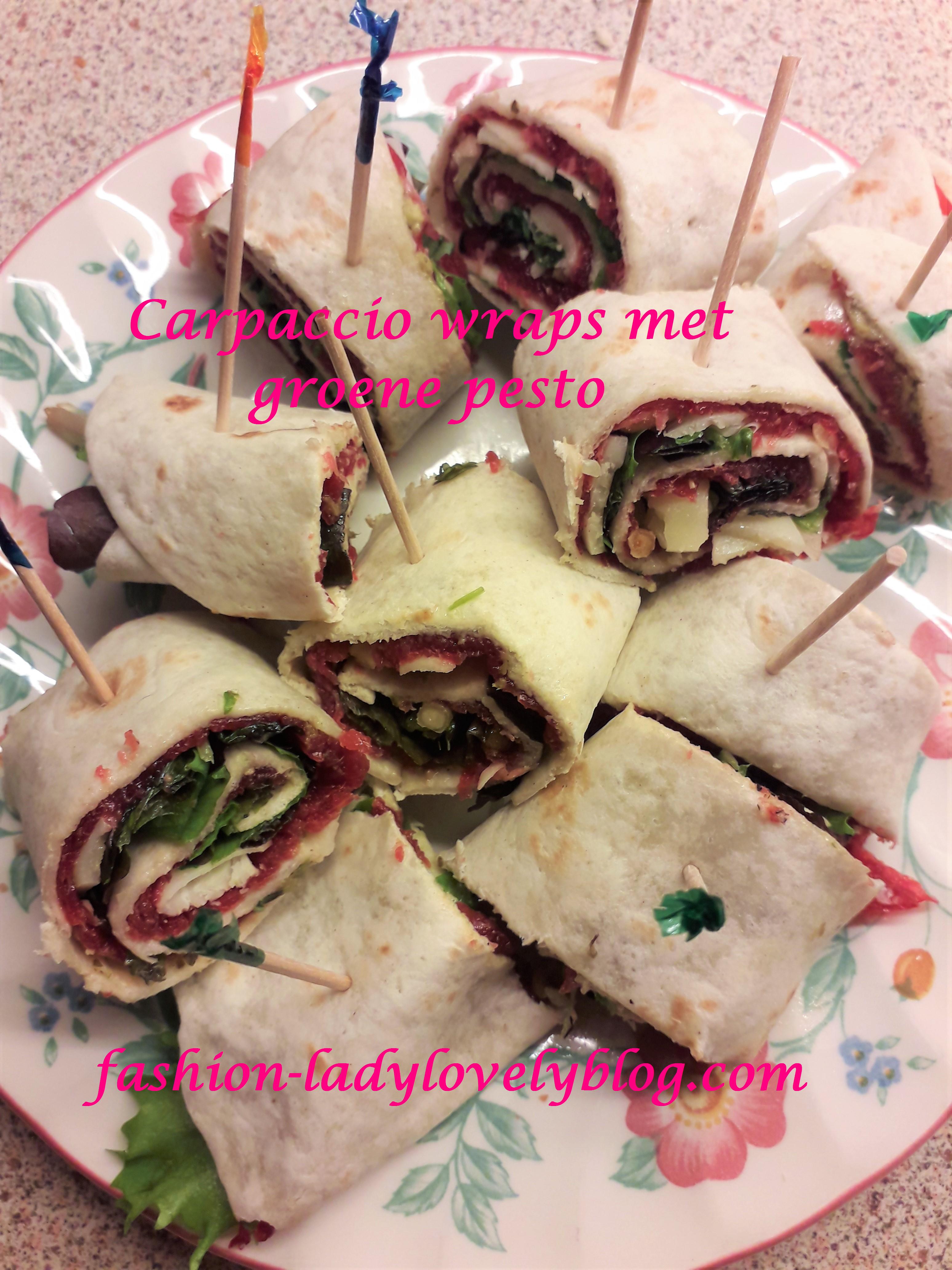 Carpaccio wraps met groene pesto