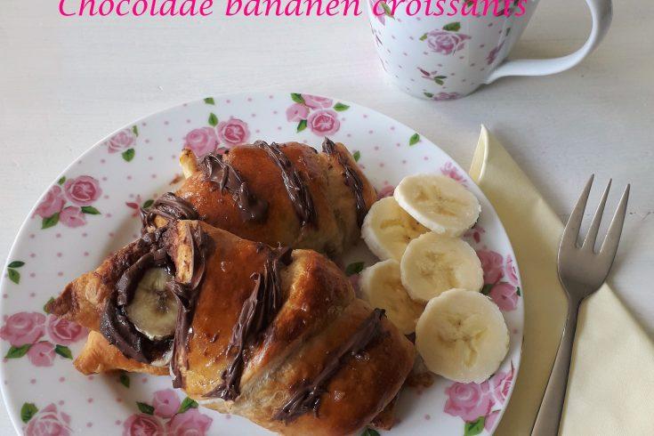 Chocolade bananen croissants