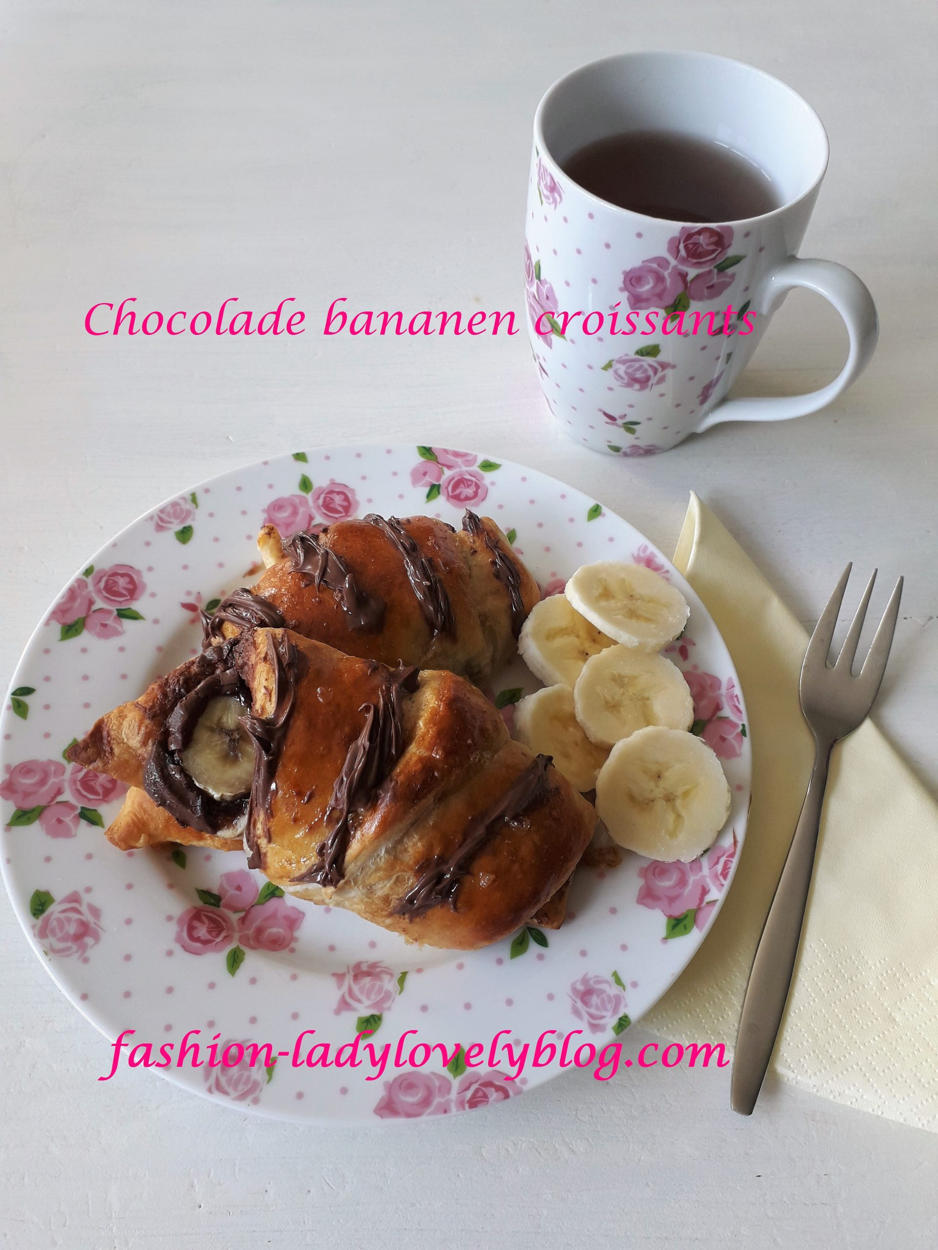 Chocolade bananen croissantjes
