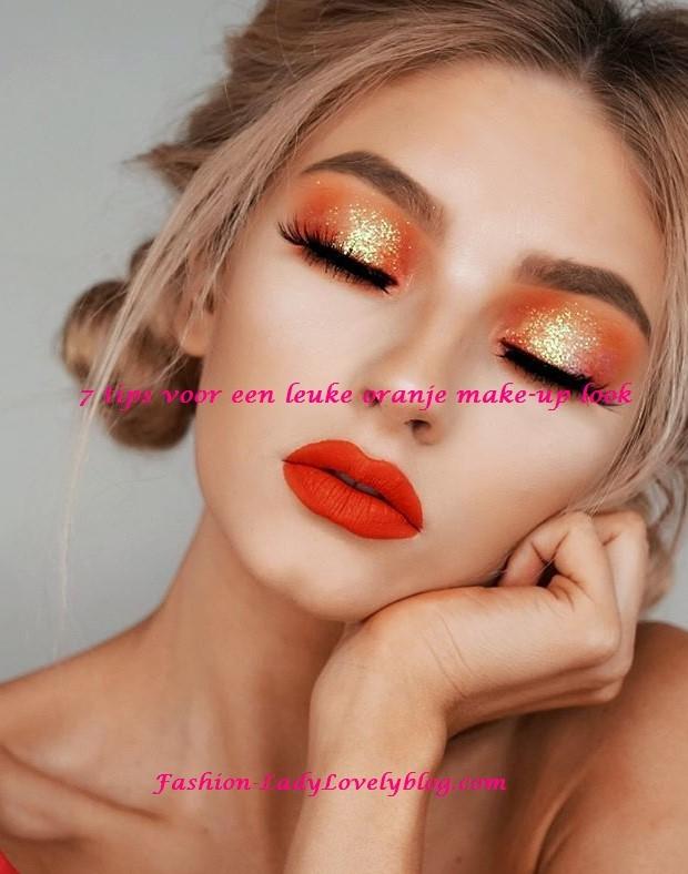 Make up look oranje tips