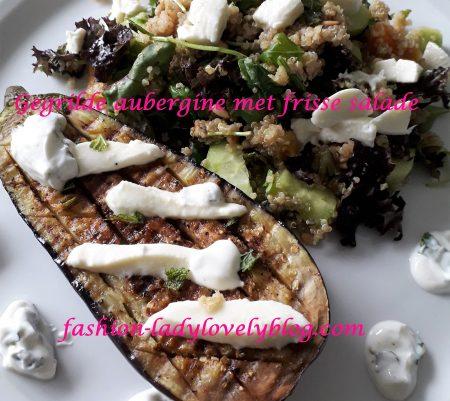 Gegrilde aubergine met frisse salade